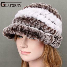 63d37b85250 2017 Winter Hat For Women Genuine Rex Rabbit Fur Hat With Fox Fur Flower Female  Cap Good Quality Casquette 11 Colors dark green fur hat for sale