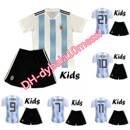Wholesale Teen S - BOYS 2017 2018 Argentina Kids Jersey DI MARIA HIGUAIN KUN AGUERO 17 18 Messi set Child Teens Jerseys 10 or more free to send DHL