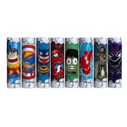 Carino Supereroe Captain American Batman Spiderman 18650 20700 21700 Batteria PVC Autoadesivo della pelle Vaper Wrapper Cover Sleeve Heat Shrink Wrap Vape da pelli vape fornitori