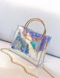 Pu holográfica online-Bolso de la manera de las mujeres Láser PVC Holográfico Holograma Embrague Monedero Chica Linda Bolsa de maquillaje Bolso del partido bolsa de cubo 2018 Nuevo