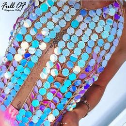 vintage halter top blau Rabatt Sexy Metallkette Crop Tops Frauen Sommer Bling Hohl Pailletten Halter Shirt Womens abgeschnitten Sparkly Luxus Nachtclub Party Cami Top