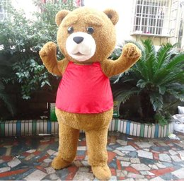 bear fancy dress Coupons - Fur Teddy Bear Mascot Costume Teddy Costume Adult Fancy Dress Clothing Halloween Party Suit Funny Animal Bear