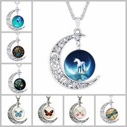 Wholesale Necklace Moon Men - Unicorn&Butterfly Totem Time Gemstone Chokers 4*3.5cm Hollow Moon Pendants Designer Women Men Necklaces Luxury Jewelry