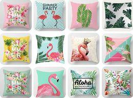 2019 tropische blumendrucke Mode Gedruckt Flamingo Kissenbezug Tropische Grüne Pflanze Blätter Blume Weiche Baumwolle Plüsch Wurf Kissenbezug Kissenbezug Home Decor geschenk günstig tropische blumendrucke