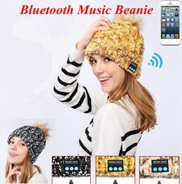 Wholesale Wireless Speaker Ball - Bluetooth Music Warm Soft Beanie Hat Wireless Cap Headset Headphone Speaker Smart Cap Ball Pom Pom Party Hats LJJO3878