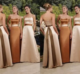 3fd708b3cfc5 2019 New Design Strapless A Line Satin Long Bridesmaid Dresses with Belt  Simple Vintage Maid Of Honor Gowns Wedding Party Guest Wear