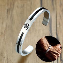 Ohm bijoux en Ligne-Bracelet à manchette hindou Inde OM Ohm Aum pour hommes Bracelet à bijoux en acier inoxydable ton argent en acier inspiré Meditate Bijoux