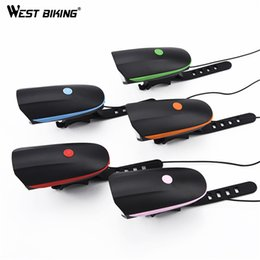 Wholesale Bright Horn - WEST BIKING Cycling Mountain Bike Electric Horn Bicycle Super Bright Headlights Vocal USB Charging Night Riding Cycling Light