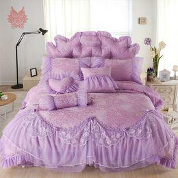Wholesale Korean Bedspreads - Free shipping Korean princess bedding sets 100%cotton lace duvet cover Bedspreads Pillowcase 4pcs set SP3433 wedding decoration