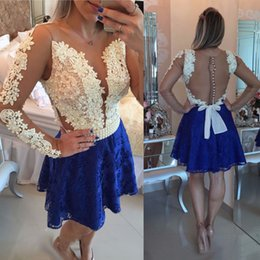 Wholesale Cocktail Dress Covered Jewels - Lovely Ivory Royal Blue Lace Homecoming Dresses A Line Sheer Long Sleeves Appliques 2018 Mini Short Cocktail Dress Sheer Backless