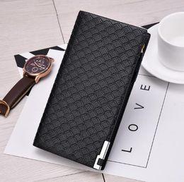Wholesale Wallet Mens Nylon - Mens Long Wallet Change Multiple Card Large Capacity Wallet Fashion Casual Lattice Zip Wallet Free shipping