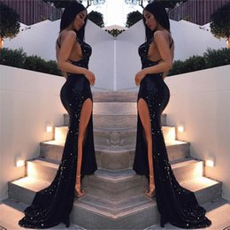 cross training Promo Codes - 2018 Sexy Sequin Beads Backless Prom Dresses Spaghetti Neck Mermaid Long Evening Gowns For Party Wear