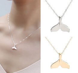 Wholesale Whale Tail Pendant - whole saleRetro Women Whale Tail Fish Nautical Charm Mermaid Tail Pendant Necklace Jewelry