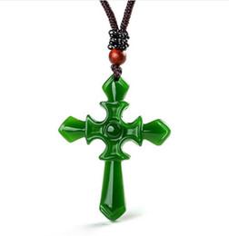 Jade natural cruz on-line-Certificado 100% Natural Hetian / Afghan Jade Esculpido Pingente Cruz Colar Charme Jóias / Amuleto De Jóias Sorte