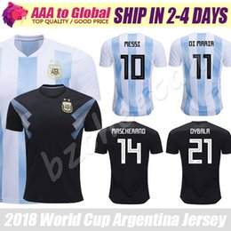 Wholesale Messi Jersey Xl - Argentina jersey 2018 World Cup Argentina soccer jerseys football shirt #10 Messi #11 Di Maria #21 Dybala #7 Icardi best quality jersey