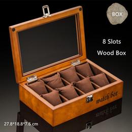 2019 serrures de vitrine Top 8 Slots bois boîte de montre de mode noir cas de stockage de montre avec boîte de cadeau d'affichage de verrouillage C033 promotion serrures de vitrine