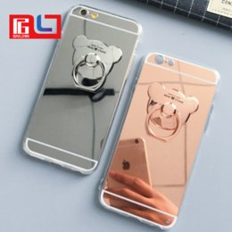 Wholesale Electroplated Rings - Lady Electroplating Cartoon Bear TPU Ring Holder Stand HD Mirror Phone Case Cover for IPhone 7 7Plus Smasung S8 S8Plus