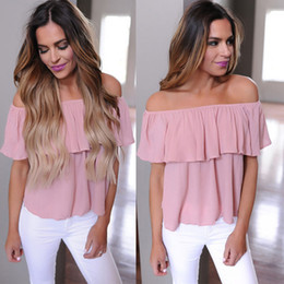 2019 blusa rosa do ombro 2018 Mulheres Verão Sexy Blusa Casual Solto Plissado Fora Do Ombro Tops Camisa Empoeirada Mulheres Bonito Verão Tops Blusa Rosa desconto blusa rosa do ombro