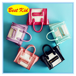 Wholesale wholesale patchwork leather handbags - BestKid DHL Free Shipping! Kids Newest Bags Stylish Handbags for Childrens Baby's Small Leather Totes Toddlers Famous Brand Mini Purse BK047