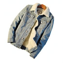 2019 chaqueta de paño de invierno para hombre AmberHeard Hombres chaqueta de mezclilla de lana caliente 2018 Hombres de moda de invierno chaqueta de Jean gruesa y abrigos Outwear Male Cowboy Clothes S-5XL chaqueta de paño de invierno para hombre baratos