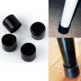 Wholesale Round Table Furniture - Wholesale- New 4pcs set Black 22mm Furniture Table Covers Round Bottom Frames Chair Leg Caps PVC Plastic Feet Protector Pads