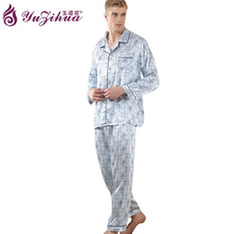 Wholesale Plus Size Satin Pajamas - silk sleepwear Men Satin Silk Pajamas Sets of Sleepshirt & Trousers Adult Nightwear Man Casual Home Clothing Plus Size Fits All Seasons