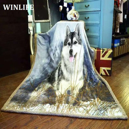 wolf print fabric Coupons - 3D Print The Wolf Totem Super Warm Flannel Fleece Sherpa Plush Double Sided Blanket For Sofa Bed Travel Soft Throw Blanket