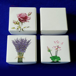 Wholesale Lavender Soaps - Rose Lavender Lotus Printing Paper Gift Box Biscuits Handmade Soap Candy Packaging Box For Party Favor Package wen5038