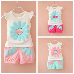 Wholesale Girl Kid Hot Pants - Hot sale cute girls baby kids flowers tops shirt + pants shorts 2pcs set summer outfits clothes high quality