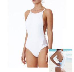 Menina um pedaço branco swimsuit on-line-Branco e preto Meninas Swimwear One Piece Swimsuit Feminino Natação Ternos Maiô Swimsuit