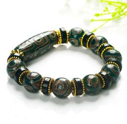 Wholesale Jade Bracelet Carving - Nine eye dZi bead bracelet men and women natural chalcedony bracelet ethnic style Tibetan retro authentic three eyed wenwan jade