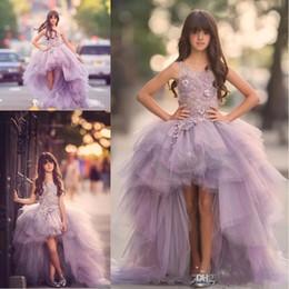 Vestido de niñas de flores de alto bajo lujo para adolescentes Apliques Flores hechas a mano Vestido de fiesta morado Vestido de fiesta juvenil Primera Comunion desde fabricantes