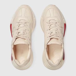 Wholesale Women Italian Shoes - 2018 Italian Genuine Leather Women Men Trainers European Designer Fashion Sneakers Couples Running Shoes Lace Up Retro Rhyton Shoes C812