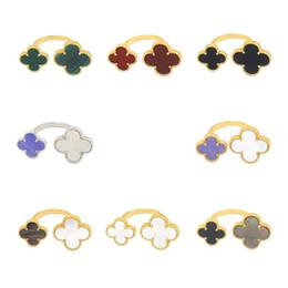 Anéis roxos de ouro branco on-line-Anel requintado 925 sterling silver gold tamanho quatrefoil trevo preto e branco vermelho shell roxo anel aberto para as mulheres
