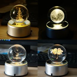 Wholesale Crystal Elk - 3D Rotation Crystal Ball Night Light Rotate Glass Ball LED Table Lamps Christmas Tree Elk Dandelion Moon Lamp Lights Decoration