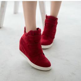 tacones ocultos de cuña alta Rebajas Zapatos de lona de alta calidad de las mujeres otoño invierno ocultos talón rebaño moda cuña zapatos casuales 3 colores