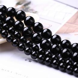 """Agata naturale rotonda online-Prezzo di fabbrica naturale agata nera rotonda branelli allentati AAA qualità 16 """"per filo 6 8 10 12 MM Scegli la dimensione per fare gioielli DYI"""