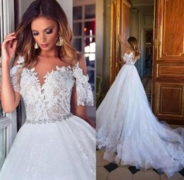Wholesale plus size wedding reception dresses - Milla Nova 2018 Gorgeous Lace Wedding Dresses Cap Sleeves Plus Size Bridal Gowns Vestidos De Novia Covered Button Wedding Reception Gowns