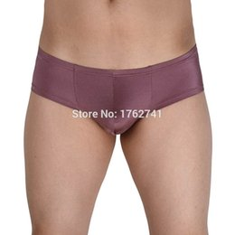 cotton penis Promo Codes - Men's Male Mini Cut Boxer Sexy Mini Bikinis Gay Men Shiny Low-rise Cheeky Underwear Penis Pouch Boxer