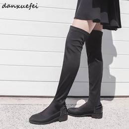 botas de tecido alto joelho flat Desconto Tecido elástico das mulheres sobre o joelho botas preto apartamentos finos botas de inverno longo lazer confortável feminino sapatos altos mulheres