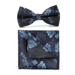 Uomini legami di arco floreale online-Tieet Poliestere retrò Royal Bow Tie e Hanky Set per Gentlemen Floral Pattern Spedizione gratuita
