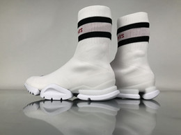 Wholesale Womens Black Boot Socks - High SS Vetements Graffiti Ins Sock Trainer White Black Fash Red CN3309 Men Women Running Shoes Socks Boots Knitting Womens Casual Sneakers