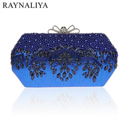 Wholesale Golden Barrel - Luxury Fashion Designer Minaudiere Beaded Evening Bags Women Wedding Bridal Golden Crystal Diamond Clutch Banquet Smysfx-e0212
