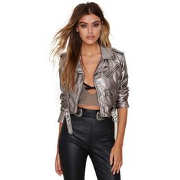 Wholesale Gray Suede Jacket - Belt Women Spring jacket Punk Style Short Faux Leather Coat Faux Leather Suede Jacket Women Pu Leather Coat Female