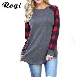 Wholesale Plaid Womens Shirts Long Sleeves - Rogi Plaid Shirt Women Casual Long Sleeve Womens Tops And Blouses New Fashion Patchwork Top Blouse Blusas Mujer Plus Size S-5XL