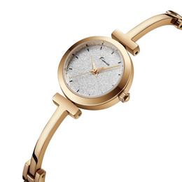 Wholesale Simple New Dress For Girls - 2018 New Arrival Hot Sale Womens Watches Analog Waterproof Dress Watches for Girls Students Simple Desiginer Thin T Strap Dress Clock Saat
