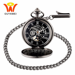 Wholesale Antique Skeleton Clocks - Ouyawei Vintage Skeleton Mechanical Hand Wind Pocket Watch With Chain Men Transparant Clock Necklace Pocket & Fob Watches Man