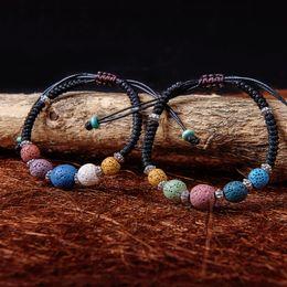 farbe lederöl Rabatt 5 Farbe Lava Rock Perlen Charme Armbänder Frauen Ätherisches Öl Diffusor Stein Leder Geflochtenen Seil Armreif Für Damen Modeschmuck