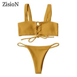 Wholesale Swim Suit Padded - New Brazilian Swimming Suits Women Bikini Set Solid Swimsuits Sexy Swimwear Thong Bikinis Beach Bathing Suit With Padded