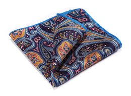 Wholesale Orange Silk Handkerchief - Hn33n Orange Navy Blue Hisdern Handkerchief 100 %Natural Silk Satin Mens Hanky Fashion Classic Wedding Party Pocket Square